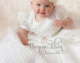 Off White Rosette Christening Gown, Baptism Gown, Dedication, 0-3 months, 3-6 months, 6-9 months, 9-12 months, 12-18 months, 18-24 months,