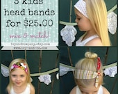 3 Child's Reversible Head Bands - Bundle and Save!