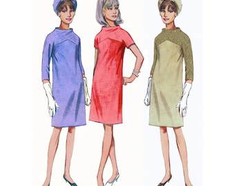 1964 Vintage Mod Dress, Straight Dress, Bias Shaped Yokes with All-in-One Kimono Sleeves, Funnel Neck, Color Block, Butterick 4290, Bust 31""