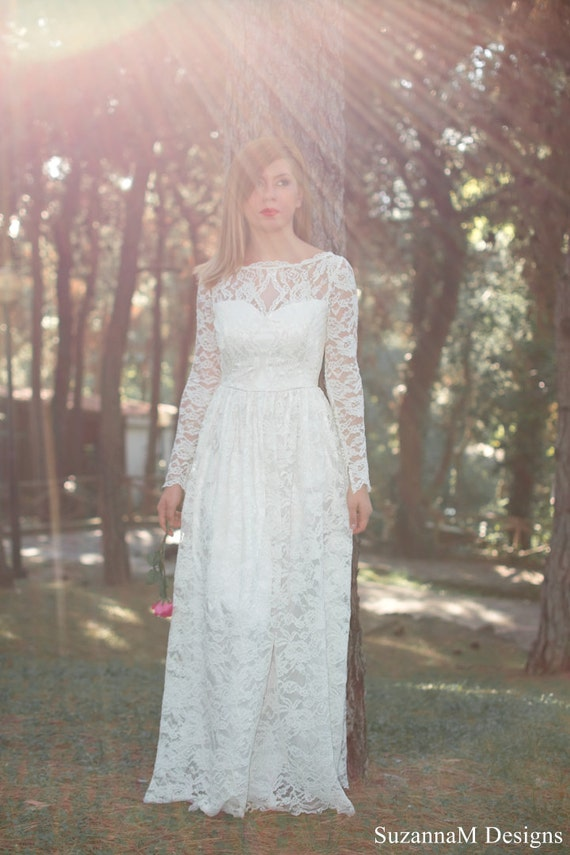 Long sleeve 50s wedding dress : S wedding dress lace bridal gown long lond sleeve