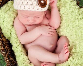 Newborn Baby Hat Newborn Baby Girl Hat Newborn Baby Boy Hat Cream Baby Hat Wood Button Baby Beanie Newborn Photo Prop Photography Prop