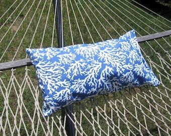 Outdoor Hammock Pillow Cover, Blue Hammock Pillow- 14x26 Nautical Beach House Decor, Outdoor Pillows