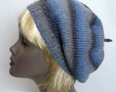 Blue and Gray Tam, Hand Knit Hat, Striped Slouchy Beret, Knit Hat with Sparkle, Women's Hats, Handmade in the USA, Ready to Ship