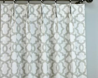 French Pale Light Gray White Sheffield Lattice Trellis Quatrefoil Curtains - Pinch Pleat - 84 96 108 120 Long - Optional Blackout Lining