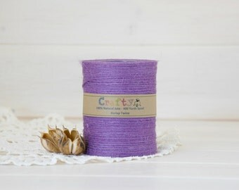 Burlap Twine 400 Yards - 100% Natural Jute String -  Color Lilac - 400 Yards Spool - Lilac Jute Twine - Lilac Burlap String