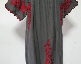 Mexican Embroidered Dreess Cotton Tunic, Boho Dress, Peasant Dress, Oaxacan Dress