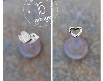 Tiny heart and French bird TRAGUS SET Sterling silver Labret /16 gauge/ BioFlex/tragus heart/ tragus earring/cartilage earring
