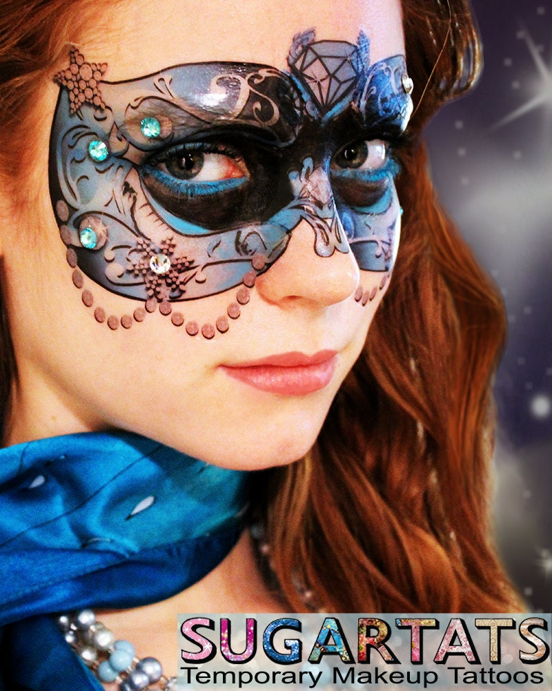 Blue crystal carnival mask temporary makeup tattoo by for Mardi gras mask tattoo