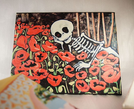 Day of the Dead Art Canvas. Valentine Romantic Skeleton in Poppies from painting. Rockabilly