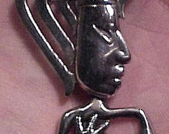 Los Castillo Mexican Sterling Silver Swinging Arms Mayan Head Brooch 1950s