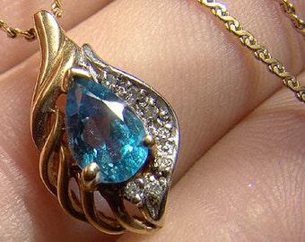 14K Blue Topaz Diamonds Pendant Necklace 1970s 14 K Teardrop