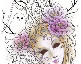 Digital Stamp - Carnevale - Instant Download - Venetian Mask w/ Flowers and Owls - Lines for Cards & Crafts by Mitzi Sato-Wiuff