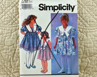 Girls, Dress, S, Simplicity 7697 Pattern, Pullover, Gathered to Bodice, Square Neck, Large Collar, 1991 Uncut, Size 5 6 6x