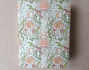 "Small Handbound Journal - ""Jellyfish Girls"" - pocket saddle stitch notebook"