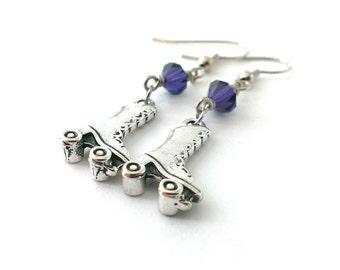 Roller Skate Earrings, Dangle Earrings, Roller Skate Charm Earrings, Swarovski Crystal Earrings - Available as Hypoallergenic and Clip-on's