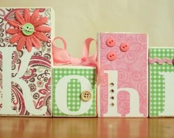 Chic Baby Shower- Paisley Baby Shower- Custom Name Blocks- Pink Paisley Nursery- Chic Nursery- Custom Baby Name Blocks- Pink Green Nursery