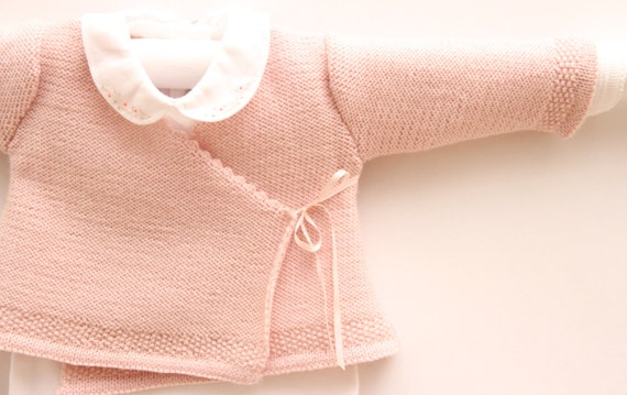 Wrap Cardigan Instructions in English / PDF Instant download / Sizes : Newborn / 6 and 12 months