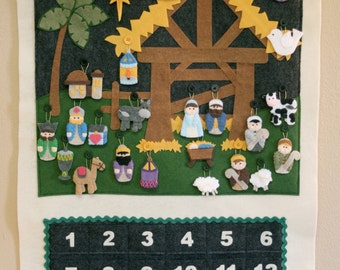 Nativity Advent Calendar • 24 Ornaments • Hand Made • Made to Order • EARLY BIRD PRICING until July 31 •