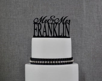 Personalized Last Name Wedding Cake Topper, Mr and Mrs Cake Topper,Custom Wedding Cake Topper, Elegant Wedding Topper, Unique Topper- (T088)