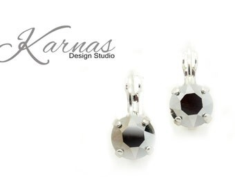 COMET ARGENT LIGHT 8mm Crystal Chaton Drop Leverback Earrings Swarovski Elements *Pick Your Finish *Karnas Design Studio *Free Shipping*