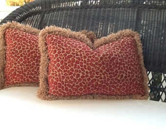 Cranberry Red Leopard Spot Chenille Pillow Cover
