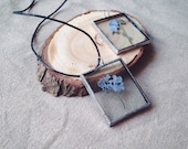 Real blue forget-me-not necklace 35x30x5 mm handcrafted glass pendant with real dried blue forget-me-not flower inside