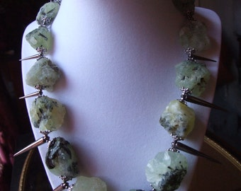 Natural Raw Prehnite Statement Necklace & Earring Set / Raw Stone and Spike Necklace and Earring Set / Statement Set / Summer Jewelry