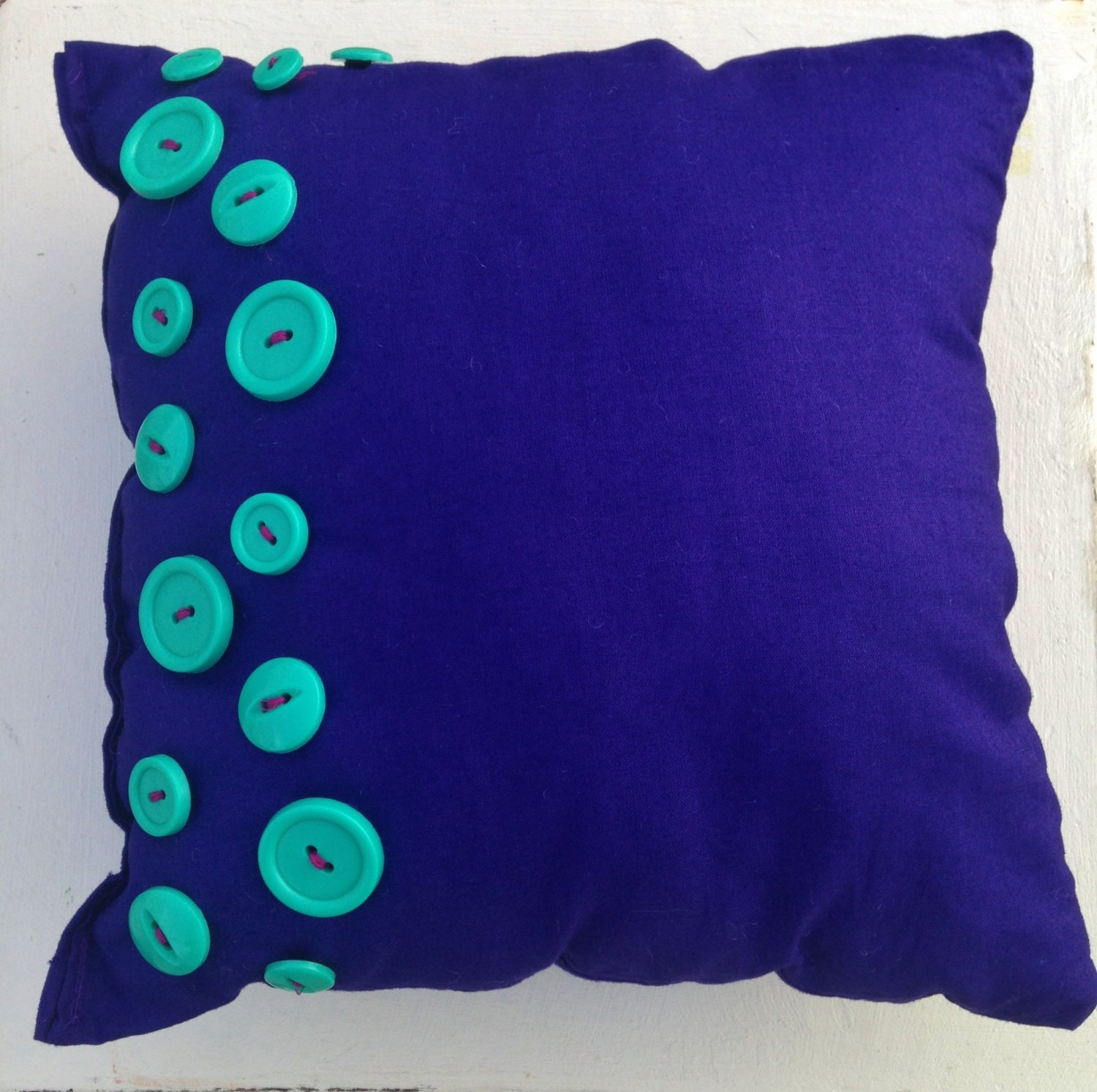 Throw Pillows With Buttons : Throw Pillow With Buttons // Mini Throw Pillow // by HMKHandmade