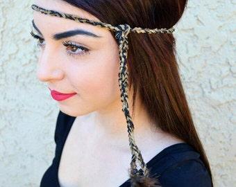 Braided Feather Headband - Festival Headband - Hippie Headband - Brown Feathers - Bohemian - Tribal