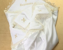Christening blanket Personalized Embroidered Blanket Christening blanket with lace Vintage Baby Blanket