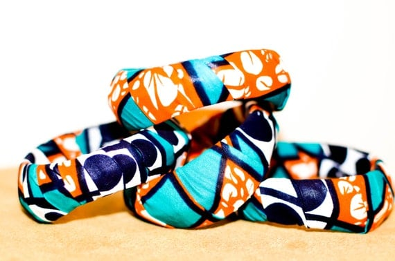 Wholesale African print fabric bangles - Orange Love - Afro-chic - Afro centric - Afro bangle