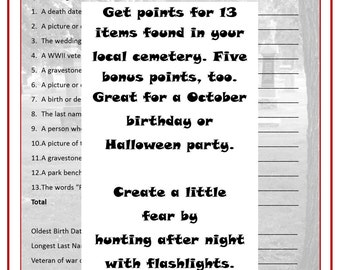 Printable Graveyard Scavenger Hunt - INSTANT DOWNLOAD - Party game for Halloween or October birthday