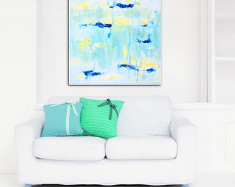 Abstract Art Large Canvas Giclee Print, Teal Blue Pastel Painting Canvas Wrap, Abstract Wall Art Decor Pastel