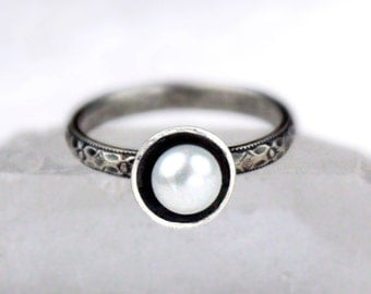 Freshwater Pearl Ring with Vintage Style Silver Band, Silver Stackable Ring