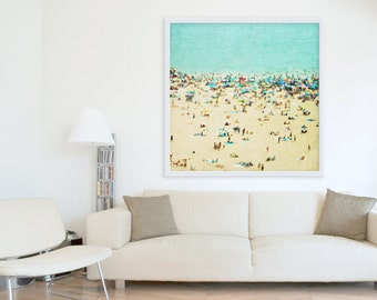 Large Oversize Art // Beach Photography // Aerial beach Photography // Turquoise Teal Print // Coney Island Beach // Beach People