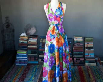 Vintage Tori Richard PAINTERLY floral Hawaiian summer vacation resort MAXI HALTER dress