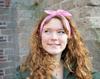 Cute Dolly Bow Bendable Wired Headband - ORGANIC Cotton Fabric GOTS  - Bubblegum Pink - 1950s Retro