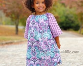 Size 4T Girls Squirrel Peasant Dress Purple and Blue 3/4 length Sleeves Flowers Berries Autumn Tula Pink Woodland Tunic Ready to Ship 4
