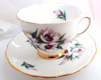 Colclough English Fine Bone China Vintage Teacup & Saucer Set - Red White Lenten Roses Flowers - gold gilded edge - maroon green rose