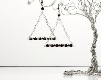 Trapeze Pearl Earrings Swarovski Black Pearls Triangle Geometric Chain Earrings Carnival Collection