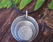 Artisan Sterling silver necklace - Abstract Mod circles (with sterling silver chain or Greek leather cord)