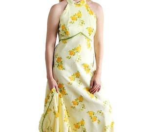 70s Prom Dress Yellow Floral Print Bolero Jacket Vintage Wedding Maxi