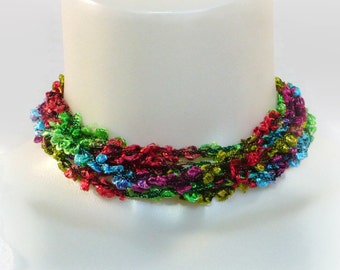 Boucle Ladder Yarn Necklace in Tropical Colors: Fiber Necklace, Crochet Jewelry, Vegan Necklace, Lariat Necklace, Ready to Ship