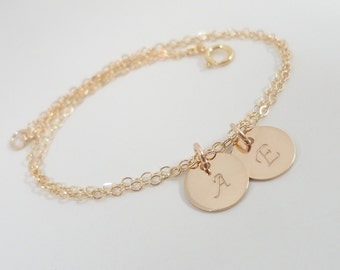 Gold Filled Initial Bracelet - Hand Stamped Mommy Jewelry - Two Initials - Delicate Monogram Bracelet