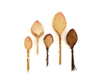 50 Mini Brown Paper Leaves - Assorted Autumn leaves with wire stems - Made of Mulberry Paper - Perfect for cardmaking & scrapbooking