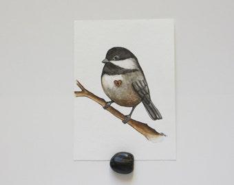 Little Chickadee, Watercolor painting, chickadee painting, original art, bird painting, Chickadee Heart