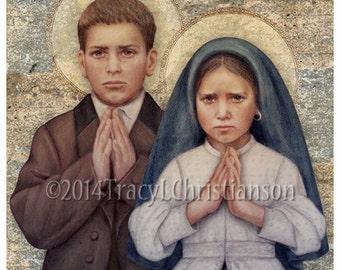 Sts. Francisco and Jacinta Marto Art Print, Fatima Children, Catholic Patron Saints #4303