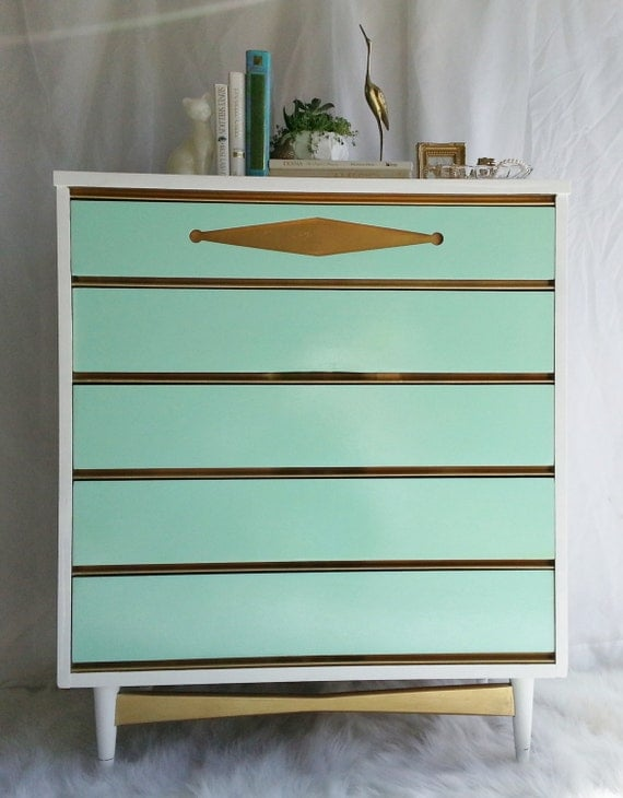 Sale vintage bassett painted mid century modern chest of drawers