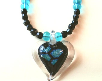 Black and Blue Glass Heart Dichroic Necklace, Dichroic Heart, Dichroic Pendant & Glass Bead Necklace, Heart Pendant