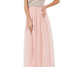 UK12 US8 AUS12 EU40 Pink Vintage inspired 1920s Prom Maxi dress with Sleeves Flapper Great Gatsby Charleston Wedding Bridesmaids Hand Made